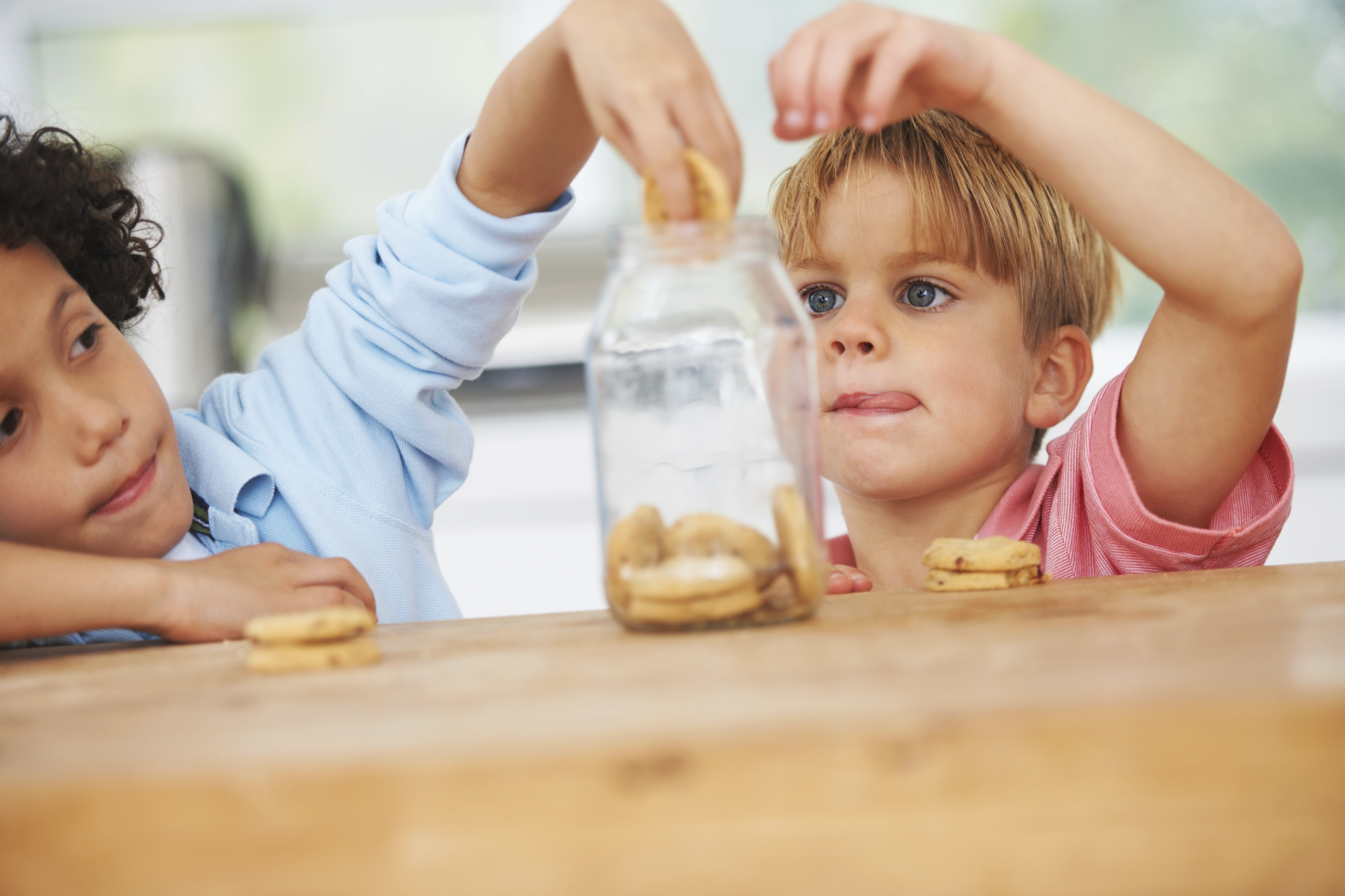 Two cute young boys taking cookies out from a jar in the kitchen